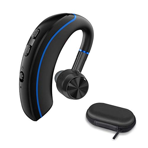Bluetooth Headset, FLINEVE Wireless Earpiece V5.0 Ultralight Hands Free Business Earphone with Mic for for Office/Office/Trucker Driving (Blue)