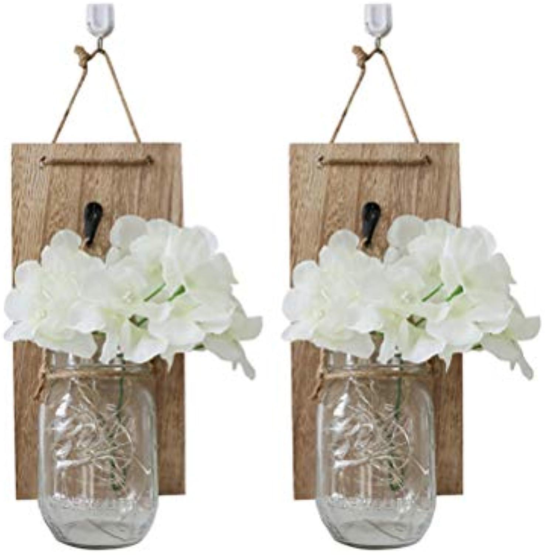 Uonlytech 1 STüCK 2 Meter Outdoor Warm Weiß 20 stücke Lichter Einmachglas Flasche String Nicht Enthalten Batterie (Off Weiß Flower + Holz + Licht + Flasche)