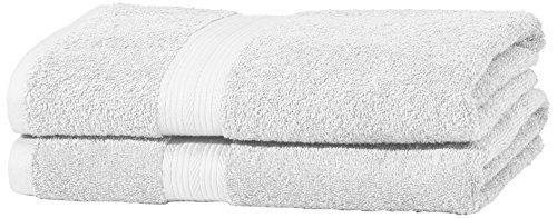 AmazonBasics - Juego de toallas (colores resistentes, 2 toallas de baño grandes), color blanco