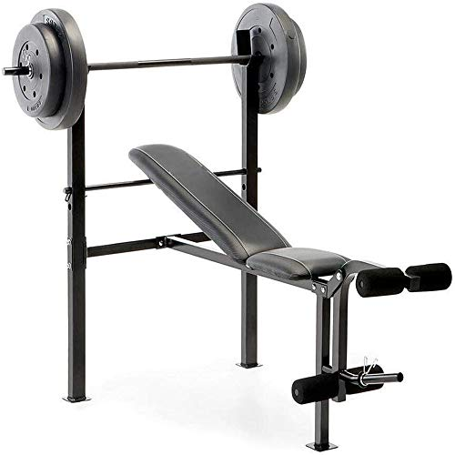 300Lbs Sturdy Construction Competitor Pro Home Gym Standard Adjustable Weight Bench With 80 Pound Set Can Be Used For Legs, Preacher Curls, Bench Press, And More Suitable For Home Gym Setups