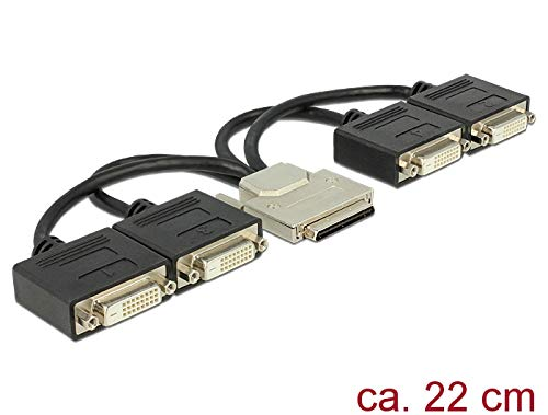 DDR4-65649 kabeladapter VHDCI-68 DVI-D x 4 zwart - kabeladapter (VHDCI-68, DVI-D x 4, stekker/bus, 0,22 m, zwart
