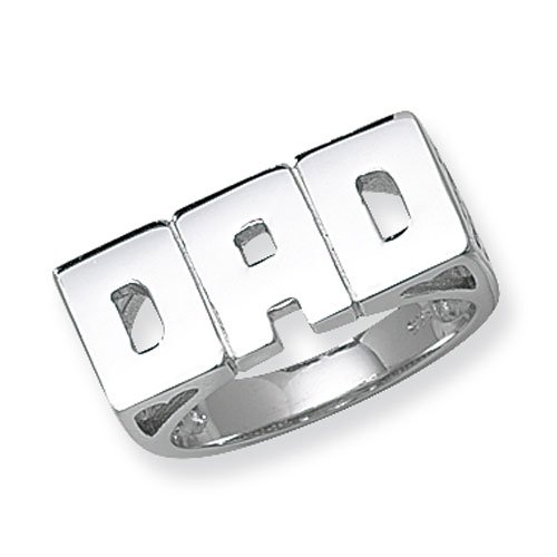Sterling Silver DAD Ring 6 Gram Large Finger Sizes (R)