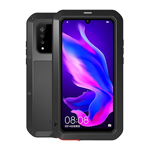 Huawei P30 Lite Case,Bpowe Armor Tank Aluminum Metal Gorilla Glass Shockproof Military Heavy Duty Sturdy Protector Cover Hard Case for Huawei P30 Lite (Black) Delaware