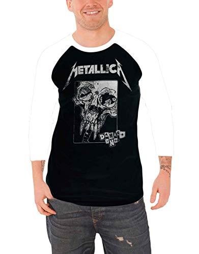 Herren Baseball T-Shirt Metallica Damaged langärmelig schwarz und weiß