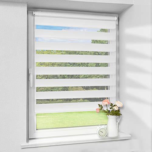 Atlaz Doppelrollo Rollo Weiss 60 x 100 cm Sonnenschutzrollo ohne Bohren für Fenster und Tür