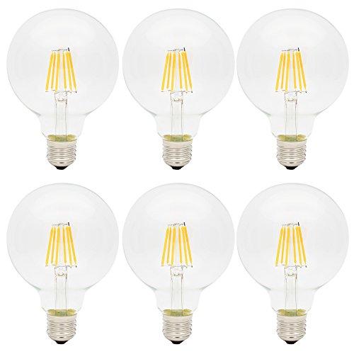 6X E27 Bombillas Edison Retro 6W LED Edison G95 Blanco Cálido 420LM Bombilla Vintage LED Sustitución del Incandescente 60W Filament LED AC85-265V
