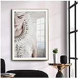 cuadros decoracion salon Moda nórdica figuras abstractas mujeres lienzo pintura impresiones carteles imágenes en blanco y negro para la sala de estar moderna decoración del hogar 19.7x27.6in (50x70cm