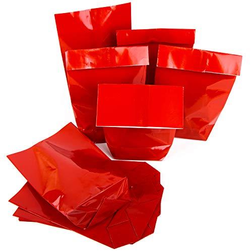 25 ROTE Papiertüte Tüte Papier-Beutel 14 x 22 x 5,5 cm Verpackung Geschenke Weihnachten Kunden Mitarbeiter Adventskalender weihnachtlich