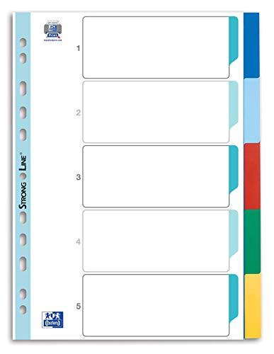 Oxford 400013909 Kunststoff-Register Strong-Line 10er Pack blanko 5-teilig für DIN A4 Plastikregister mit beschriftbarem Deckblatt blau rot grün gelb Ringbuch Ordner Ring-Mappe