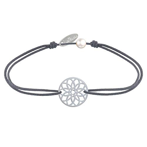 Schmuck Les Poulettes - Armband Link Silber Medaille Mandala Samen des Lebens - Grau