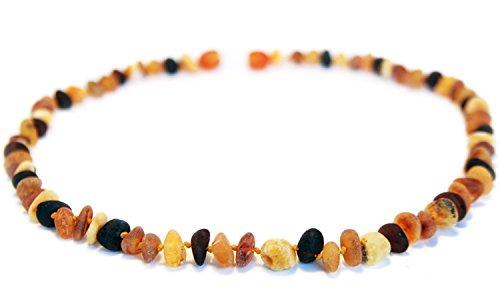 Bernstein-Halskette – Größe 46 cm – 100% echte rohe baltische Bernsteinperlen – Erwachsene Herren Damen – authentische Heilverzierung – verpackt in Organza-Geschenkbeutel MLT.U-BRQ46