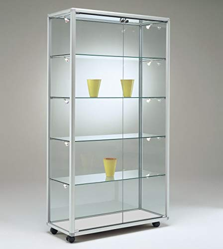 MHN breite Moderne Glasvitrine Ausstellung abschließbar 80 x 50 cm mit Glasrückwand/auf Rollen