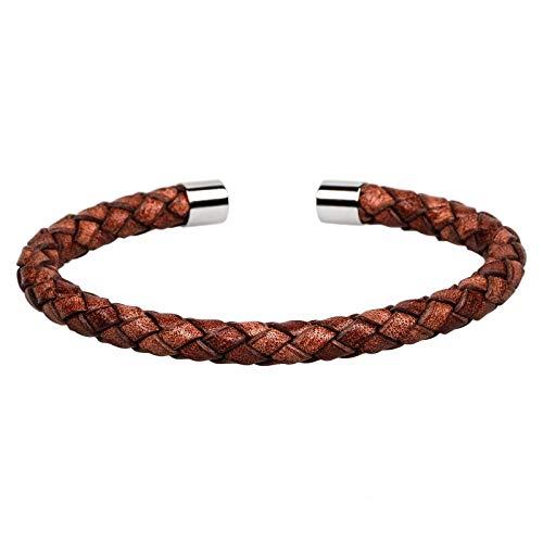 Mendozza Herren Armreif Leder Armband Schmuck Edelstahl Größenverstellbar Braun-Silber (MJ-BA46850G)