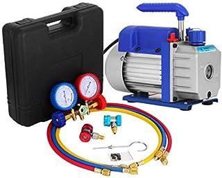 Bestauto Vacuum Pump Kit 3CFM 0.25 HP Air Vacuum Pump HVAC Air Conditioning Refrigerant Rotary Vane Single Stage Vacuum Pump with 3 Valve