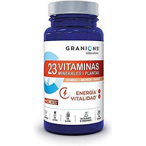 Granions 23 Vitaminas, Minerales, Plantas Energéticas, Vitaminas a B C D3 E + Oligoelementos Zinc Magnesio Selenio + Ginseng, Asimilación Optimizada, 90 Comprimidos, Formato Eco 3 Meses 81 ml