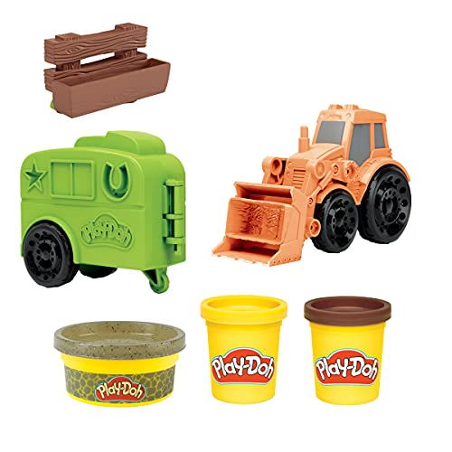 Play-Doh Wheels Tractor Farm Truck Toy for Kids 3 Years and Up with Horse Trailer Mold and 3 Cans of Non-Toxic Modeling Compound