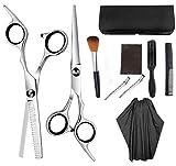 Wosiky Set de Tijeras de peluquería, Tijeras para Cortar el Cabello con Peine de Tijeras Cape Clips peluquería Profesional para peluquería 10 Piezas