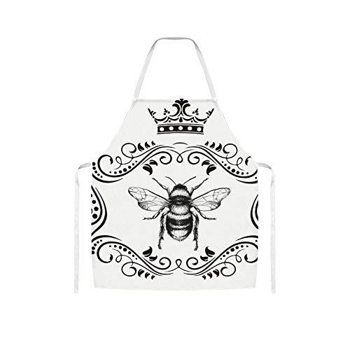 Tr73ans Franse Koningin Honingbij Honing Hornor ZZH200316IST1 Gepersonaliseerde Aangepaste Volwassen Zwarte schorten Geen Pocket Verstelbare Bib Thuis Koken