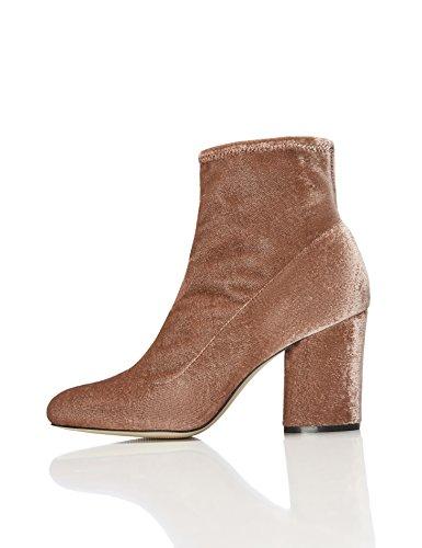 find. Damen Stretch Ankle Boots mit Samt-Look, Rosa, 37 EU