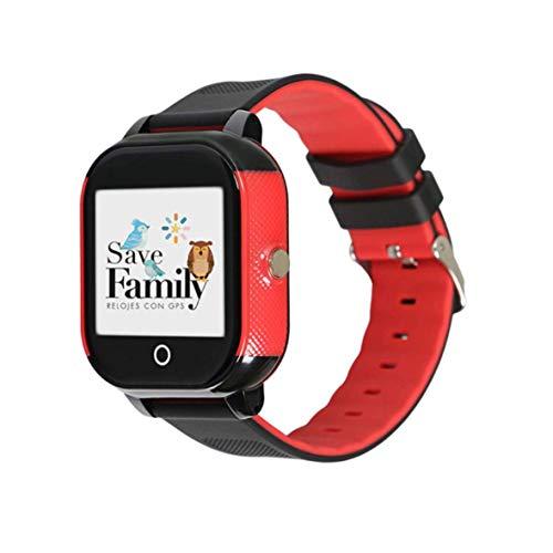 Reloj con GPS para niños Save Family Modelo Junior Acuático IP67. Smartwatch Juvenil. Botón SOS, Anti-Bullying, Chat Privado, Modo Colegio, Llamadas y Mensajes. App Propia. Negro