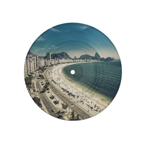 Posavasos Récord para Bebidas,Playa de Copacabana y Montaña Pan de Azúcar en Río de Janeiro,Brasil51,Absorbente 6 Piezas Posavasos de Disco Protección Efectiva Escritorio