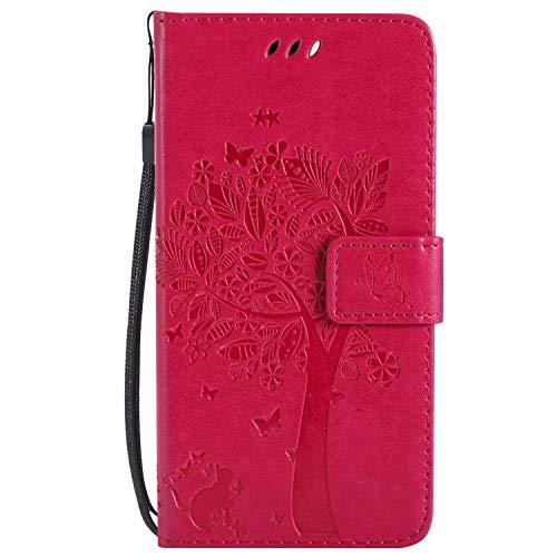 Yheng LG K4 Coque, Gaufrage Chat et Arbre Étui Portefeuille en Cuir pour LG K4 à Rabat Coque avec Fermeture Aimantée Porte-Cartes Stand Pliant Livre Housse de Protection,Rose Rouge