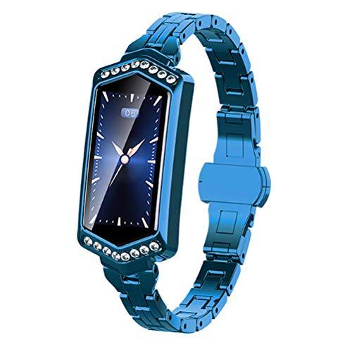 HJKPM Women's Smartwatch, Reloj Inteligente Impermeable con Ritmo Cardíaco Ciclo Menstrual Presión Arterial con La Función De Supervisión del Sueño para Prevenir La Infección del Virus,Azul