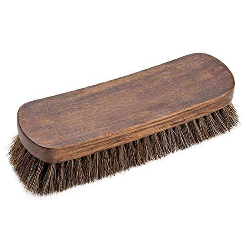 XINTUON Cepillo de madera para zapatos de 20,32 cm, para limpieza de zapatos de piel, portátil, pelo de caballo, 1 unidad
