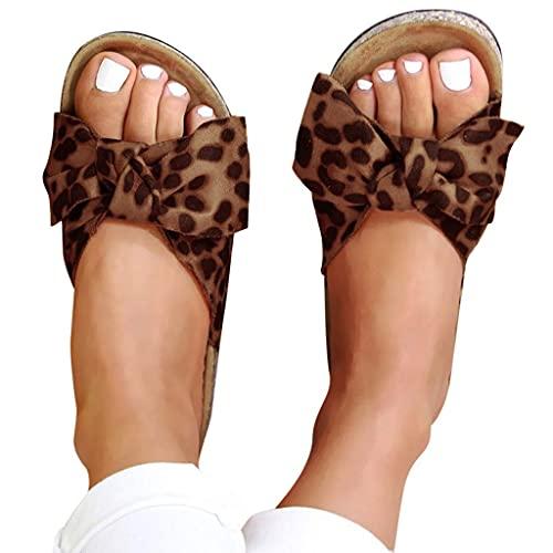 WJYCGFKJ Sandalias para Mujer Elegantes, Pajarita, Planas, Gruesas, de tacón, Sandalias, Zapatos, Verano, Playa, Viaje, Chanclas, Chanclas