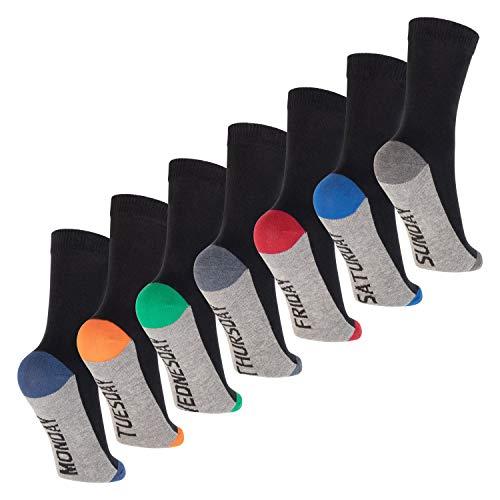 Footstar Kinder Wochentage Socken (7 Paar) Bunte Socken für Jungen & Mädchen - Sport Colors 31-34