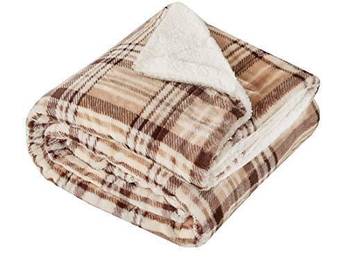 Kuscheldecke Khaki Lammfelloptik Wohndecke Tagesdecke Decke Sherpa Plaids Flauschig Weich und Angenehm Warm Perfekt für Winter Microlight to Berber 127x150cm