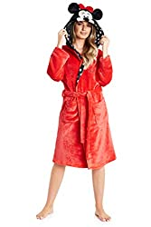 MINNIE MOUSE WOMENS DRESSING GOWNS --- Get ready for winter with this gorgeous Disney Minnie Mouse dressing gown for women and teenagers. This super soft robe features a unique design with 3D Minnie ears and bow on the hood and polka dot print. These...
