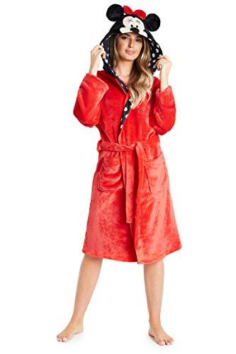 Disney Minnie Mouse Bademantel Damen 3-12, Morgenmantel Damen mit 3D Kapuze, Kuschelig Fleece Bademantel mit Taschen und Gürtel, Geschenke für Frauen (Rot, S)