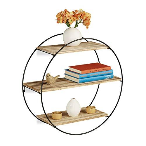 Relaxdays Wandregal rund, schwebendes Dekoregal mit 3 Ablagen, Metall & Holz, Vintage, Rundregal Ø 50 cm, schwarz/natur