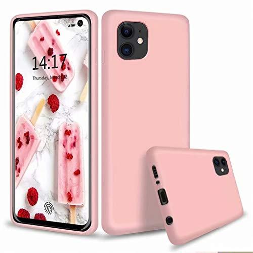 CRABOT Kompatibel mit iPhone 11 Hülle Flüssiges Silikon Gel Gummi Stoßstange Schlank Stoßfest Schutzhülle+1*(Frei Bildschirmschutz)-Pink