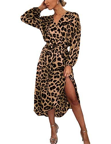 BUOYDM Mujer Elegantes Vestido de Fiesta Cuello V Leopardo Estampado Vestido Casual Manga Larga Irregular de Noche Cóctel Playa Marrón L