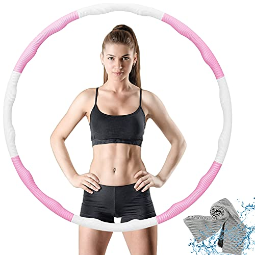 VANBAR Hula Hoop Reifen für Kinder Erwachsene, Zusammenklappbare & Einstellbare Fitness Ubung Hula Hoop und Springseil zur Gewichtsreduktion Profis Anfanger - Rosa + Weiß