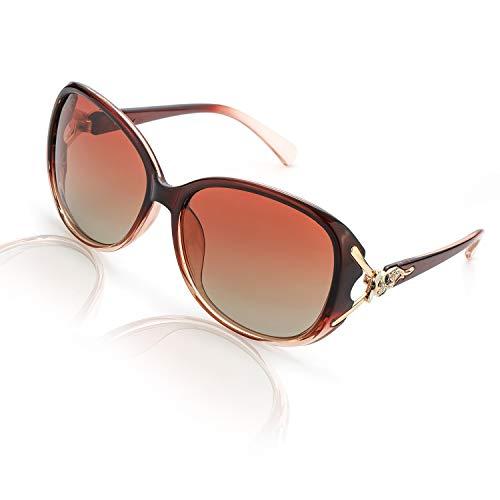 FIMILU Sonnenbrillen Damen Über-Groß, Retro Designer-polarisiert Brille Frauen, 100% UVA/UVB Schutz (Braun,Braun)