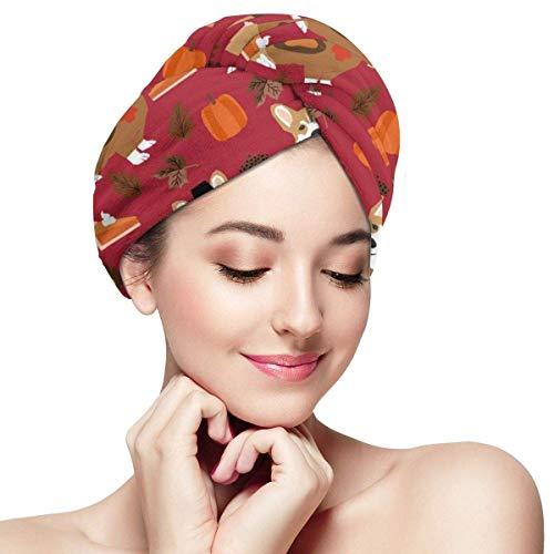 N/A Corgi - Tissu de Thanksgiving pour chien - Rouge - Bonnet de douche - Anti-rizz absorbant - Séchage tordu - Bonnet de douche - Bonnet de douche