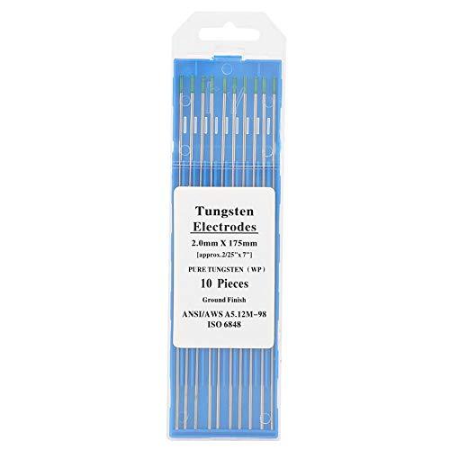 10 * Electrodos de tungsteno puro - Punta verde WP 1.0/1.6/2.0/2.4/3.2 mm para soldadura Tig de CA(2.0mm*175mm)
