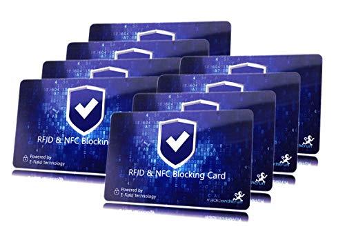 DEKRA gepr. RFID Blocker Karte Ultra dünn 0,8mm I Neuste 360° RFID NFC Blocker Karte I NFC Schutz für Geldbörse, EC- & Kreditkarte I Schutzkarte, Schutzhülle, Kartenhülle I 8 STK