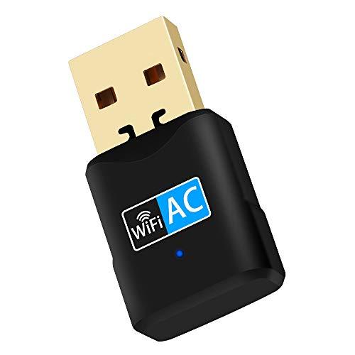 NETVIP WLAN Adapter USB WiFi Stick 600Mbits Dual Band 2.4GHz / 5GHz Wireless USB Adapter Empfänger Plug & Play WiFi Dongle für PC/Laptop unterstützt Windows 10/8.1/8/7/Vista Mac OS X (600M Free Drive)