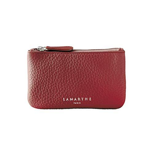 LAMARTHE PARIS - Elegante Echtleder Damen Designer Pochette Tasche, Kosmetiktasche für Frauen mit Reisverschluss, Rot