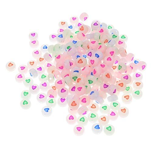 100Uds./paquete de cuentas luminosas en forma de corazón de colores DIY acrílico collar pulsera accesorios cuentas luminosas sueltas por defecto