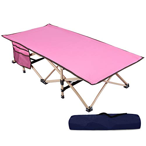 REDCAMP Extra Long Kids Cot for Sleeping 5-10, Sturdy Portable Folding Toddler Cot Bed for Boys Girls Camping Travel, Pink 53x29