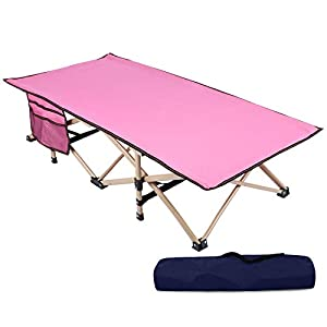 REDCAMP Extra Long Kids Cot for Camping, Sturdy Steel Folding Toddler Cot Bed for Travel Sleeping, Portable with Carry Bag (Pink)