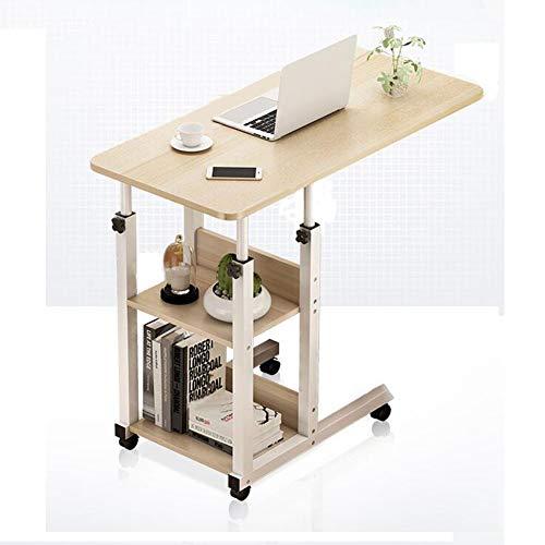 MIAOYO Mesa Auxiliar Cama para Ordenador Regulable con Ruedas, Hospital Sofa Salon Mesa Auxiliar Cama Alta 80x40cm,Maple Cherry