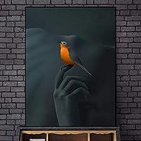 指先の鳥キャンバスアートプリント抽象的な壁アートキャンバス絵画ポスターとプリント落書きアート写真壁の装飾-50x70cmフレームなし
