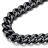 FindChic Black Chain Necklace for Men, Chunky Black Curb Chain Necklace Thick 12MM 18inch Cuban Link Chains for Boys