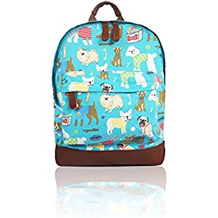 SALE - Children's 'Cath Kidston' Designer Style Canvas Animal Print Backpack - Kids Back to School Bags (Mixed Dog - Blue)
